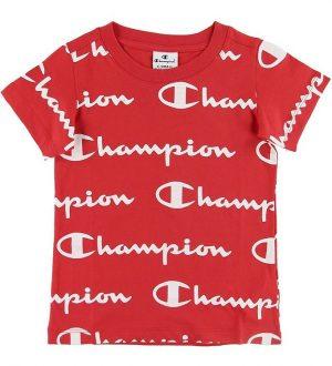 Champion T-shirt - Rød m. Allover Logo