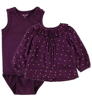 Me Too Bluse m. Body - Plum Purple m. Hjerter
