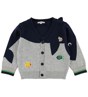 Paul Smith Baby Cardigan - Tiffen - Navy/Grå m. Fisk