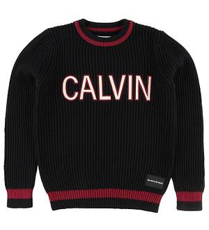 Calvin Klein Bluse - Strik - Sort m. Logo