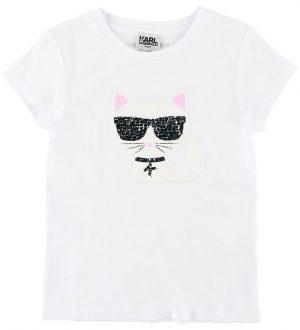 Karl Lagerfeld T-shirt - Hvid m. Kat/Palietter