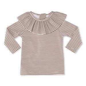 Konges Sløjd UPF 50+ soleil badebluse striped bordeaux/nature flæse
