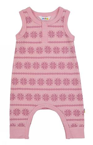 Lyserød uld buksedragt med snefnug fra danske JOHA