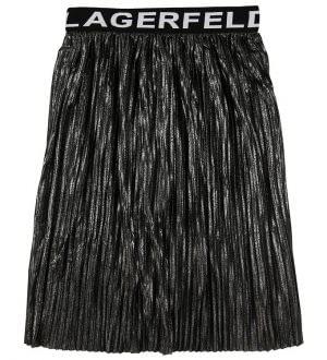 Karl Lagerfeld Nederdel - Plisseret - Sort/Sølv