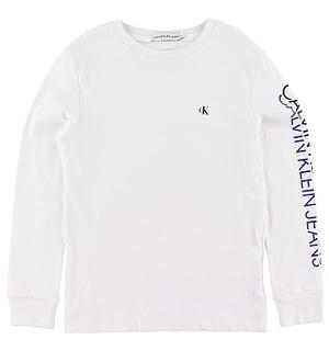 Calvin Klein Bluse - Repeat Logo - Hvid