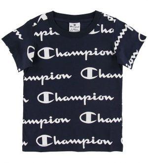 Champion T-shirt - Sort m. Allover Logo