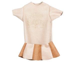 Maxi kaniner - Sæt i ruskind med t-shirt og nederdel (brun/råhvid)