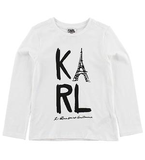 Karl Lagerfeld Bluse - Keep it Karl - Hvid m. Print