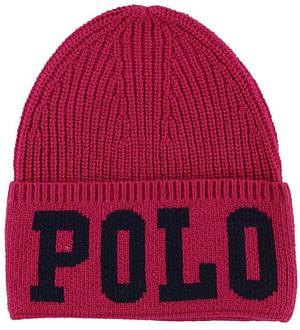 Polo Ralph Lauren Hue - Akryl/Uld - Mørk Pink m. Tekst