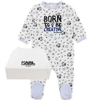 Karl Lagerfeld Nattøj - Hvid/Lyseblå m. Print/Tekst