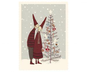 Til og fra kort - Pixy-kys ved juletræet