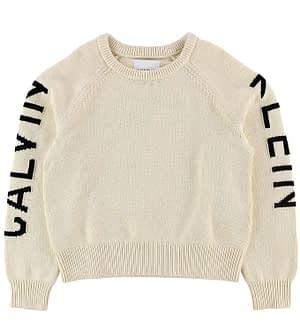 Calvin Klein Bluse - Uld/Bomuld - Off White