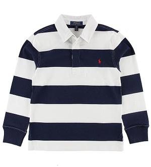 Polo Ralph Lauren Polo Bluse - Hvid/Navystribet