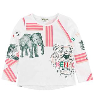 Kenzo Bluse - Hvid m. Tiger/Elefant