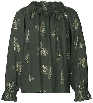 Rosemunde Bluse - Green Gold Foil Bouquet