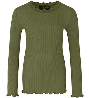 Rosemunde Bluse - Silke/Bomuld - Rib - Leaf Green m. Blonder