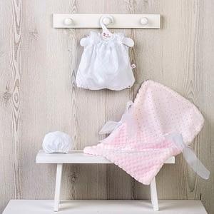 Dukketøj (36 cm.) - buksedragt, kyse og lyserød sovepose