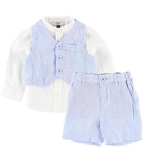 Armani Baby Skjorte m. Vest/Shorts - Hvid/Lyseblå