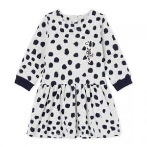 Petit Bateau - Baby Girl Dress LS by Jean Jullien - Marsmallow / Dotties
