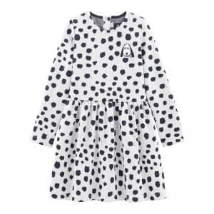 Petit Bateau - Girl Dress LS by Jean Jullien - Marsmallow / Dotties