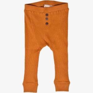 PAPFAR Bukser i bomuldsrib - Curry - 4 år