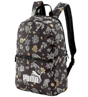 Puma Skoletaske - Core Seasonal Daypack - Sort m. Blomsterprint