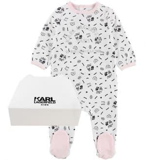 Karl Lagerfeld Nattøj - Hvid/Rosa m. Print/Glimmer
