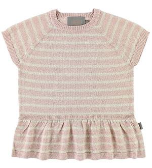 Creamie T-shirt - Strik - Pudderstribet m. Glimmer